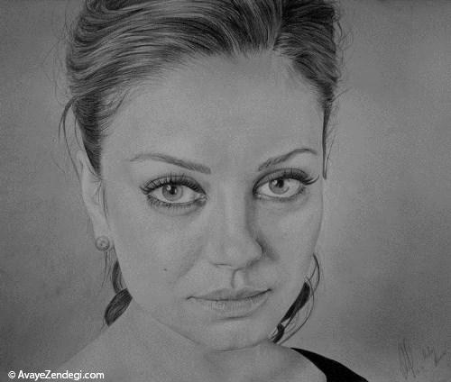 نقاشی های واقعی سیاه و سفید از چهره انسان